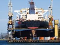 Bulk carrier in dry dock
