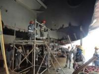 Grounding repairs in drydock
