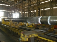 Propeller tailshaft at workshop for repairs