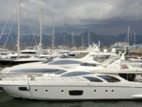 Sailing and motor yachts in port