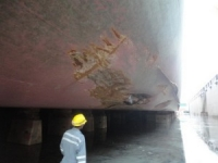 Ship in dry dock after grounding