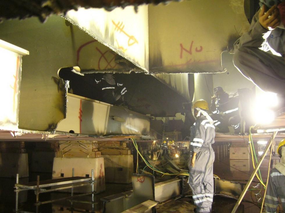 Ship's bottom under repairs