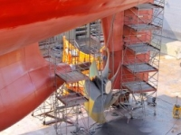 Vessel in dry dock for propeller problem
