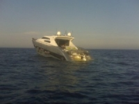 Yacht at sea with engines breakdown