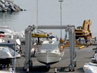 Yacht under lifting operation in Sardinia